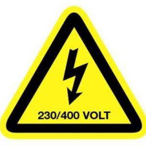 Sticker Gevarensymbool Elektriciteit – 230/400V